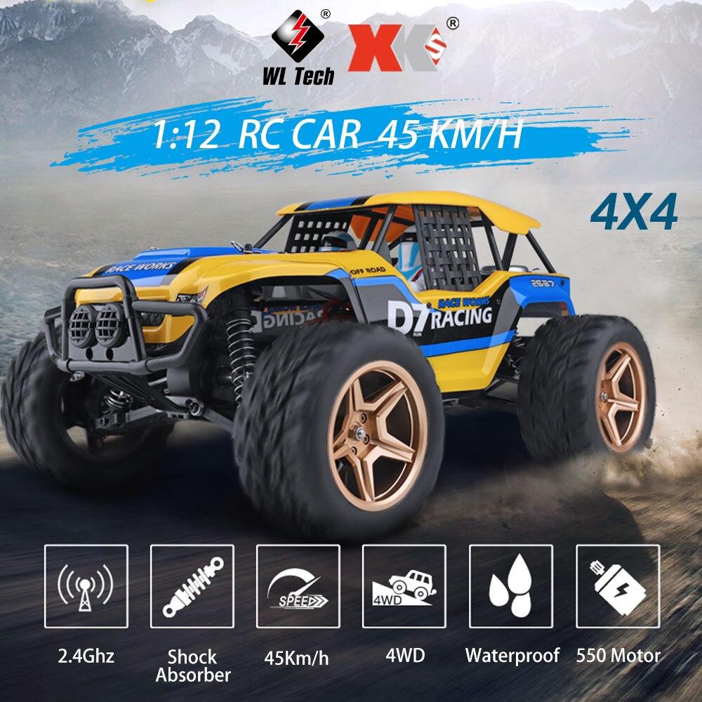 Novo wltoys xk 12402-a d7 1/12 rc carro 550 motor 4wd 45km/h deserto buggy carro rock racing caminhão rastreador fora da estrada rc carro brinquedos criança