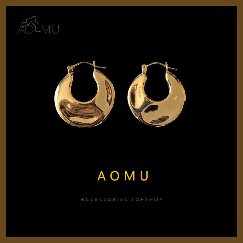 AOMU 2020 НОВЫЕ геометрические плоские неровные поверхности C формы металлические ретро серьги-кольца для женщин мужчин девушек простые ювелир...