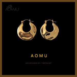 AOMU 2020 New Geometric Flat Irregular Surface Unevenness C Shape Metal Retro Hoop Earrings for Women Men Girls Simple Jewelry