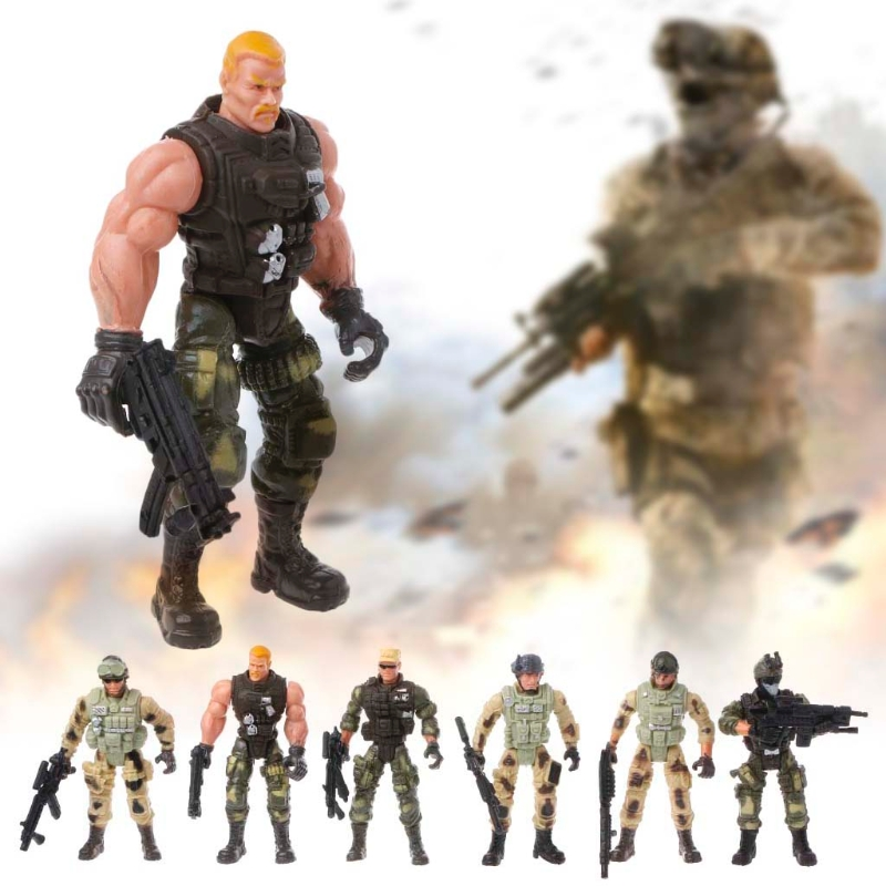 6Pcs/Set Action Figure Army Soldiers Toy With Weapon Military Figures Child Toy