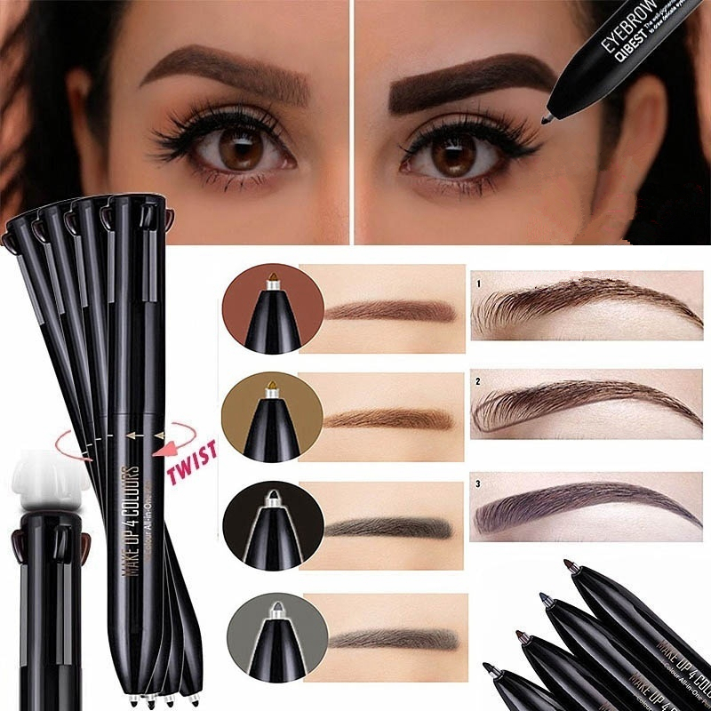 Color 4 IN 1 <font><b>Eyebrow</b></font> Pencil Long-lasting Waterproof Eye Brow Pro Defining <font><b>Eyebrows</b></font> Contour <font><b>Pen</b></font> Tat Brows Fine Professional <font><b>Tatoo</b></font> image