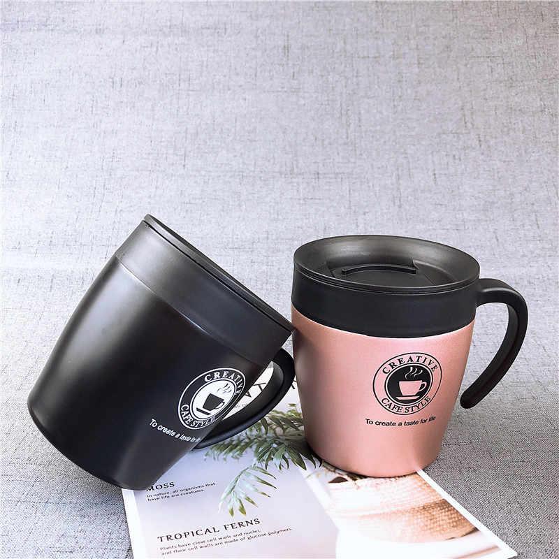 Maniglia Tazza di Caffè Tazze In Acciaio Inox Boccetta di Vuoto Termo Bottiglia di Acqua Per Gli Adulti Uomini di Bussiness Tè Portatile Termo Tazza di 330Ml nero