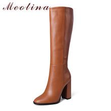 Meotina kozaki damskie buty bardzo wysokie obcasy długie buty okrągłe Toe kwadratowe obcasy Zipper buty damskie zimowe beżowy rozmiar 43 tanie tanio Mikrofibra Podkolanówki Szycia Stałe 20200616-06 Boots Dla dorosłych Plac heel Podstawowe Velvet Okrągły nosek Zima