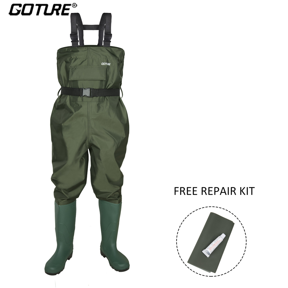 Goture Kid Fishing Waders 100% Waterproof Chest Fishing Pants 2-9 Years Old Children Wader Girl Boys Fishing Suit With Boot