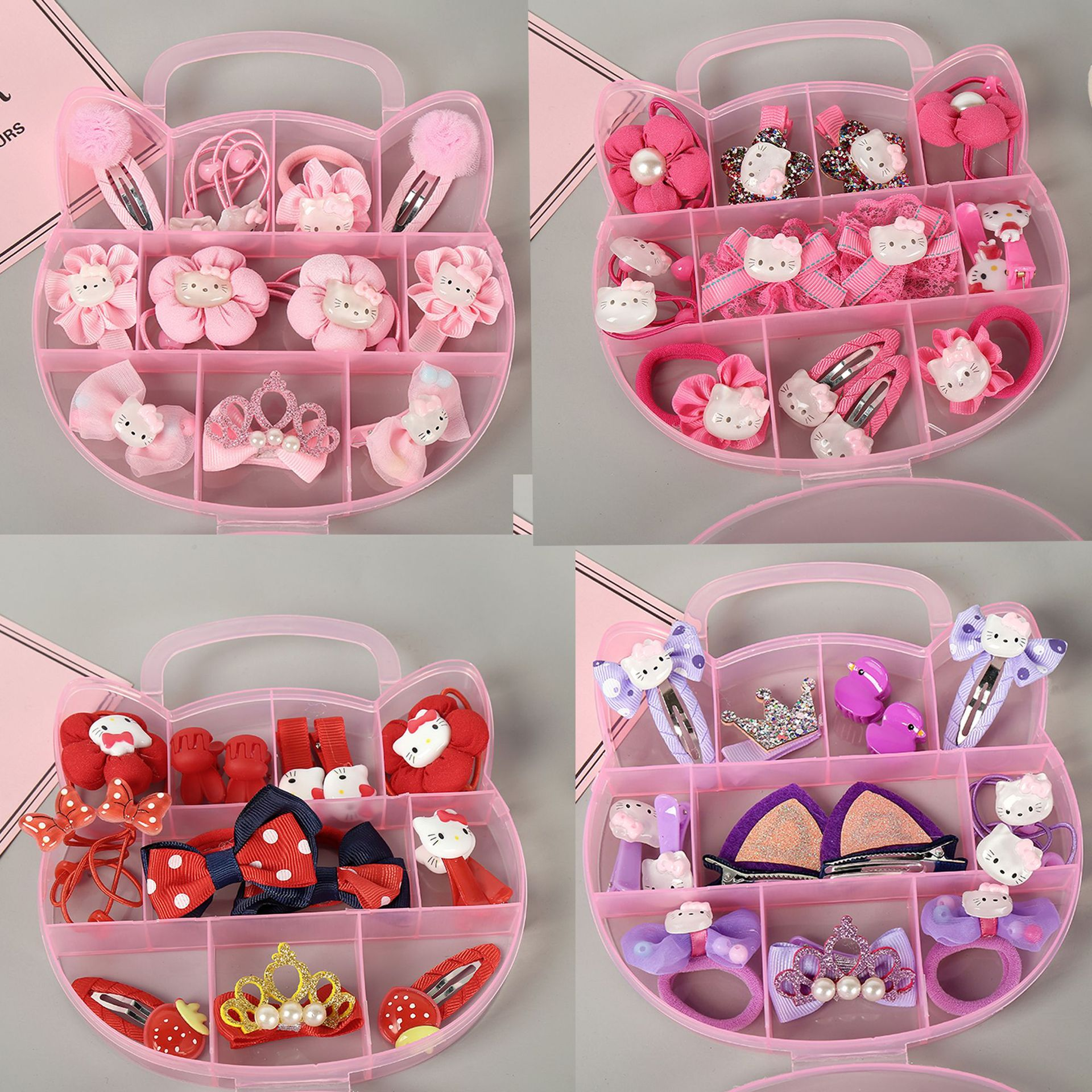 1Box Luxury Suit Children's Series Girls Hair Accessories Elastic Hair Bands Hair Grips Bow Knot Cartoon Princess HeadWear