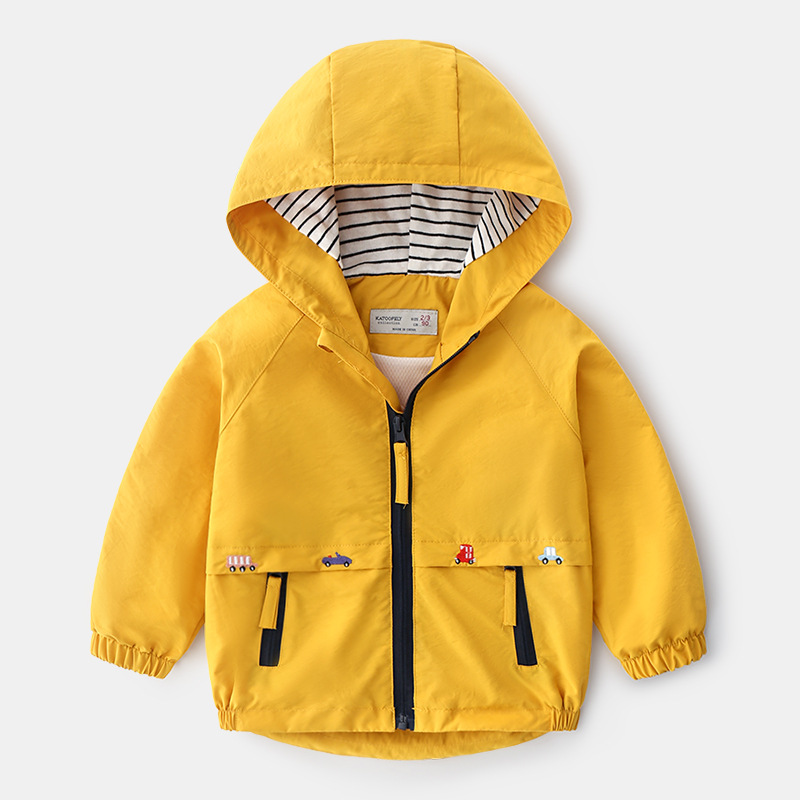 Boys Spring Autumn Coats Kids Jackets Toddler Hooded Windbreaker With Pocket Children Zipper Outerwear Baby Clothes  2-7 Years