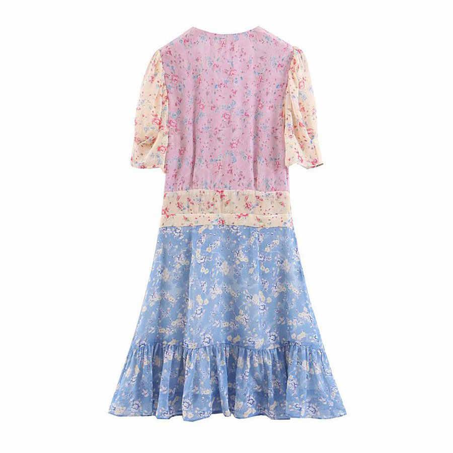2019 летнее женское модное платье с коротким рукавом с цветочным принтом, лоскутные оборки, платья с v-образным вырезом, праздничное женское сексуальное платье