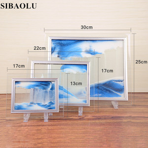 Image 5 - Marco de imagen de arena móvil, pintura de paisaje líquido, foto de cristal, adornos de escritorio, pintura de arena que fluye con visión 3D con marco de fotos