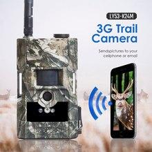 Cámara de caza 3g, cámara de ciervo con sensor de movimiento de visión nocturna infrarroja de bajo brillo, soporte de 24 MP, cámara de juego inalámbrico con panel solar Boly