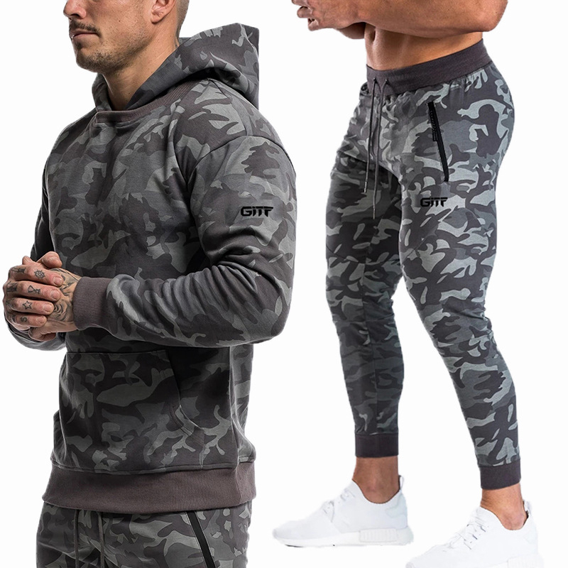 Sports Suits Men Set Brand Fitness Suits Autumn Men Set Long Sleeve Camouflage Hoodies+Pants Gyms Running Sportswear Suit
