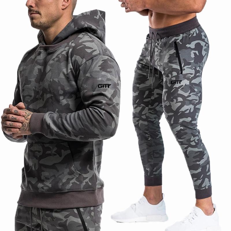 Sports Suits Men Set Brand Fitness Suits Autumn Men Set Long Sleeve Camouflage Hoodies+Pants Gyms Running Sportswear Suit