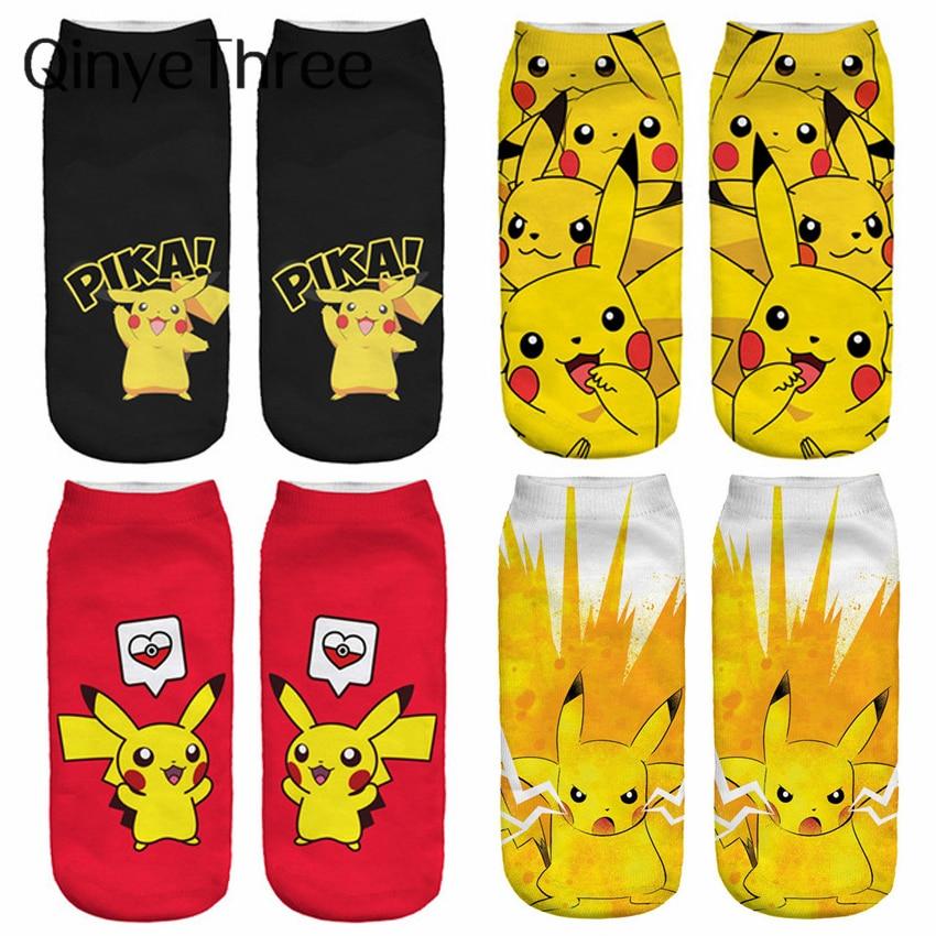 Women Harajuku 3D Cute Pikachu Print Socks Low Cut Ankle Comfortable Hosiery Meias Calcetiness Calzini Chaussette Femme