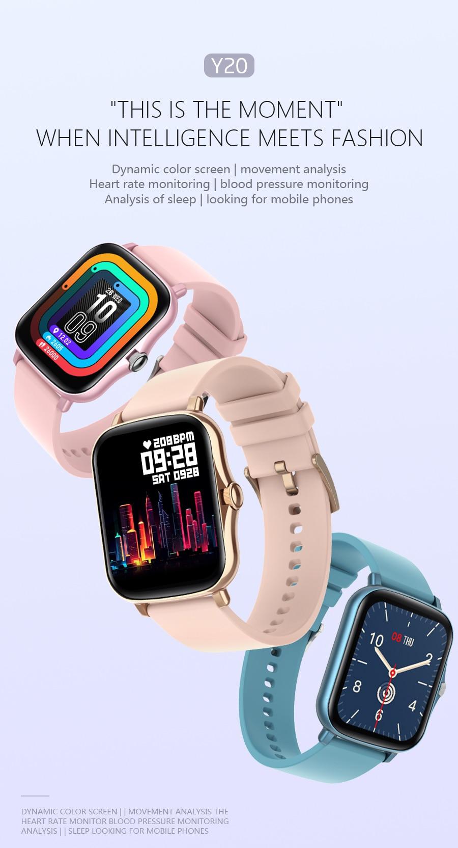 Hb9e0a79fc5df432c881a70d6acaf6e4dl Full Touch Y20 Sport Smart Watch Men Women IP68 custom dial Heart Rate Fitness Tracker Smartwatch wristwatch GTS 2 P8 plus