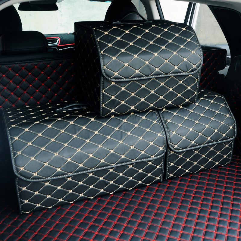 Car Storage Bag PU Leather Trunk Organizer Box Storage Bag Folding Folding Car Trunk Stowing Tidying For Car SUV title=