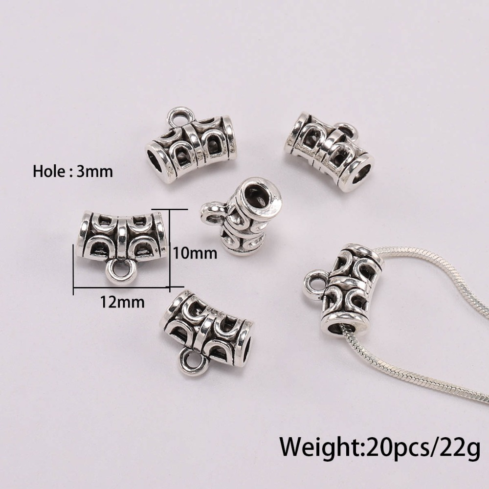 20pcs Antique Silver Charm Bail Beads Spacer Beads Pendant Clips Pendants Clasps Connectors For Bracelet Necklace Jewelry Making in Jewelry Findings Components from Jewelry Accessories
