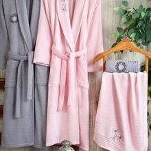 Robe Set 2 Pieces Embroided Bathrobe Towel Men Women Hand Towel Bath Textile Home Suit Robe Sleepwear Soft Cotton