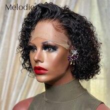 Короткие вьющиеся волосы Melodie с коротким кудрявым Бобом, парик для черных женщин с T-образной пряжкой, натуральные черные бразильские волосы...