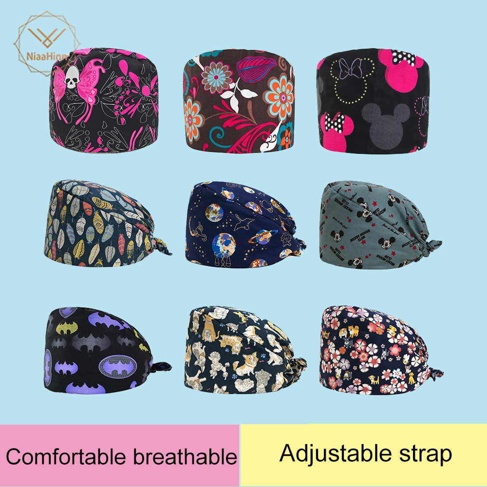 Pet Grooming Hospital Doctor Surgical Hats Butterfly Print Scrub Cap Nuseing Work Cap Cotton Scrubs Medical Use Doctor Nurse Cap