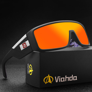 Image 1 - Viahda gafas De Sol a prueba De viento para mujer, lentes De Sol a la moda con marco grande, diseñador De marca, UV400 con funda, 2020