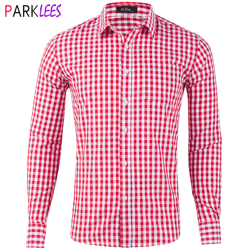 Mens Classic Gingham Plaid Cotton Casual Shirt Slim Fit Long Sleeve Button Down Dress Shirts Business Office Work Brand Shirt
