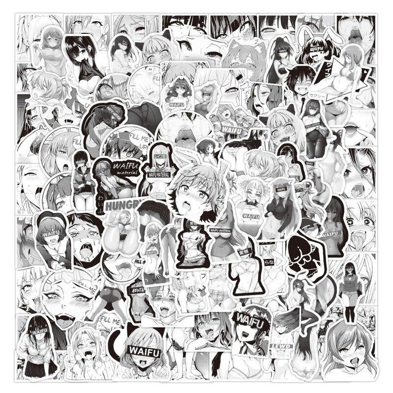 100 шт. в упаковке; Принт аниме Waifu аниме Стикеры сексуальная девушка Материал виниловые наклейки в виде Фотообоев c переводными картинками дл...