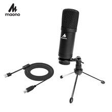 100% MAONO Kim Loại USB Condenser Microphone Thu Âm Cho Laptop MAC Hoặc Windows Cardioid Thu Âm Phòng Thu Giọng Hát Trên YouTube