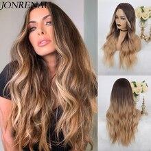 Jonrenau sintético com franja luz marrom mista loira longa onda natural perucas de festa de cabelo para branco/preto