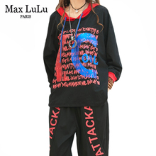 최대 LuLu 가을 패션 한국어 숙녀 펑크 탑스 하렘 바지 클럽 복장 여성 두 조각 세트 인쇄 대형 후드 트랙 슈트