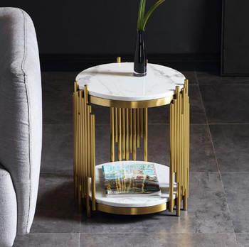 Stainless steel gold plated modern living room small coffee table luxury sofa side table Nordic creative round end table toughened glass tea table stainless steel small square table the sofa side table flower