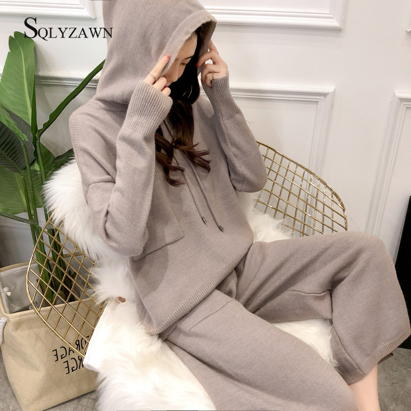 Knitted 2 Pieces Set Tracksuits Women 2019 Autumn Winter Thick Hooded Sweater+Wide Leg Ankle-Length Pants Warm Cashmere Suit