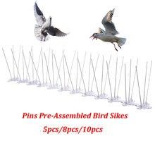 Pinos de aço inoxidável pré-montado pássaro espiga, pássaro dissuasor cerca espiga, repele pombos, gaivotas anti ninho de pássaro e pouso