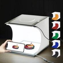 Puluz mini led para fotografia, luz inferior de lâmpada, 2 painéis de led, luz de led 20cm, tenda de estúdio caixa de caixa