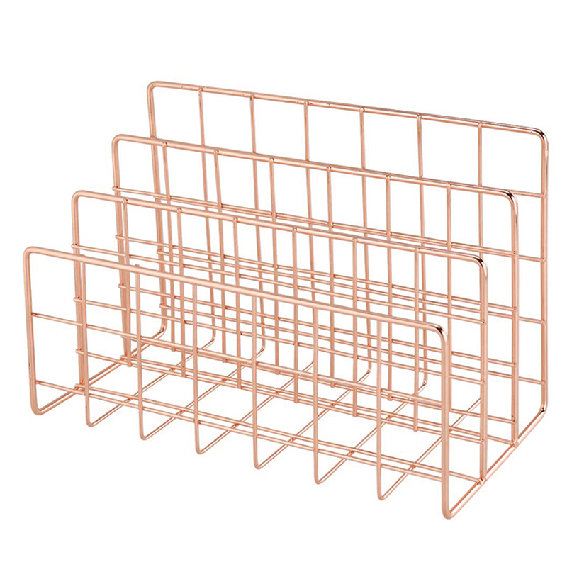 Mail Organizer  3 Slot Mail Holder  Metal Wire Mail Sorter for Letters  Mails  Books  Postcards and More  Pack of 2  Rose Gold|  - title=
