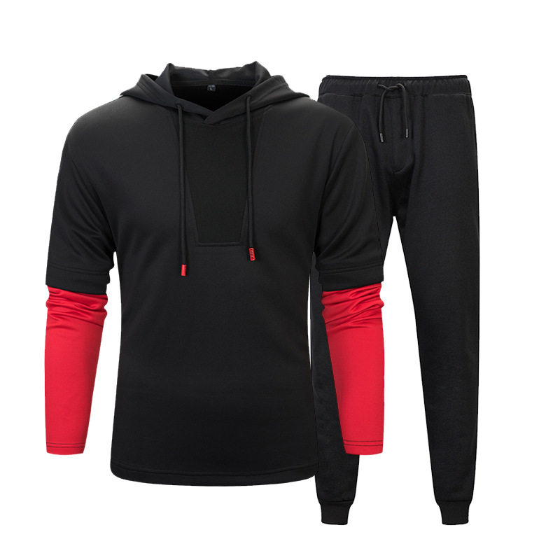 Autumn And Winter Students Fashion Hoodie Two-Piece Set Contrast Color Mock Two-Piece Stripes Hoodie Solid Color Gymnastic Pants