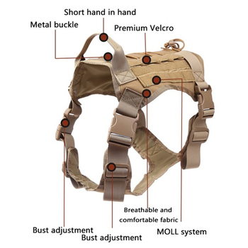 Tactical Service Dog Vest Breathable military dog clothes K9 harness adjustable size Training Hunting Molle Dog tactical Harness 2