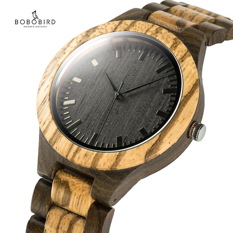 BOBO BIRD Wood Watch Men's Walnut Ebony Wooden Strap Quartz Wristwatch Male Erkek Kol Saati Miyota Gift Relogio Masculino