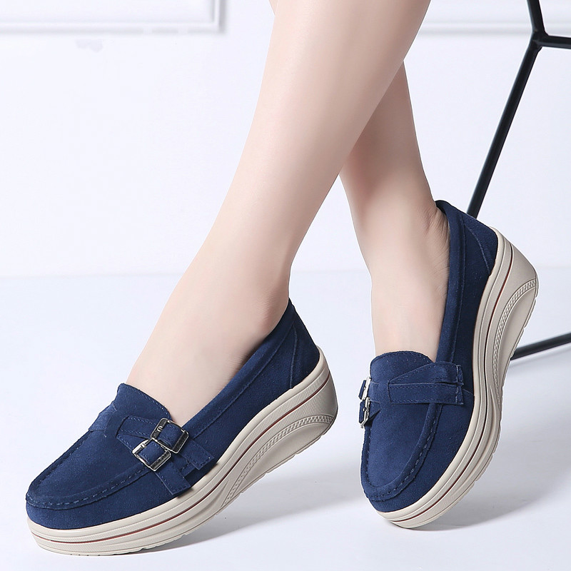Autumn Women Flats Shoes Platform Sneakers Shoes Leather Suede Casual Shoes Slip On Flats Heels 11