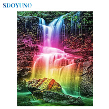SDOYUNO 5d DIY Diamond Painting  Full square/round rhinestone pictures Cross Stitch Diamond embroidery Mosaic Colored waterfall sdoyuno full square round landscape 5d diy diamond painting rhinestone pictures mosaic cross stitch diamond embroidery