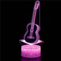 3D guitarra música rock forma colorido Noche de luz de control remoto 16 cambia de color luz de noche USB touch control de iluminación interior