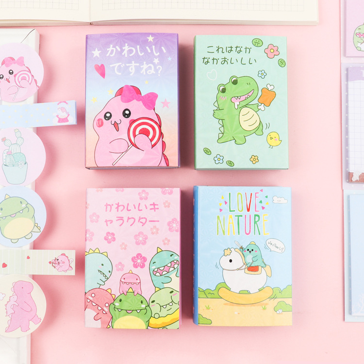 New Pattern Happy Dinosaur Monster 6 Folding Memo Pad N Times Sticky Notes Memo Notepad Bookmark Gift Stationery