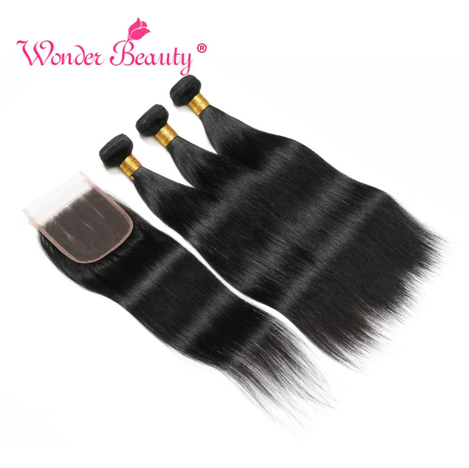 Straight Hair Bundles With Closure Remy Human Hair Bundles With Closure Wonder Beauty Brazilian Hair Weave Bundles With Closure