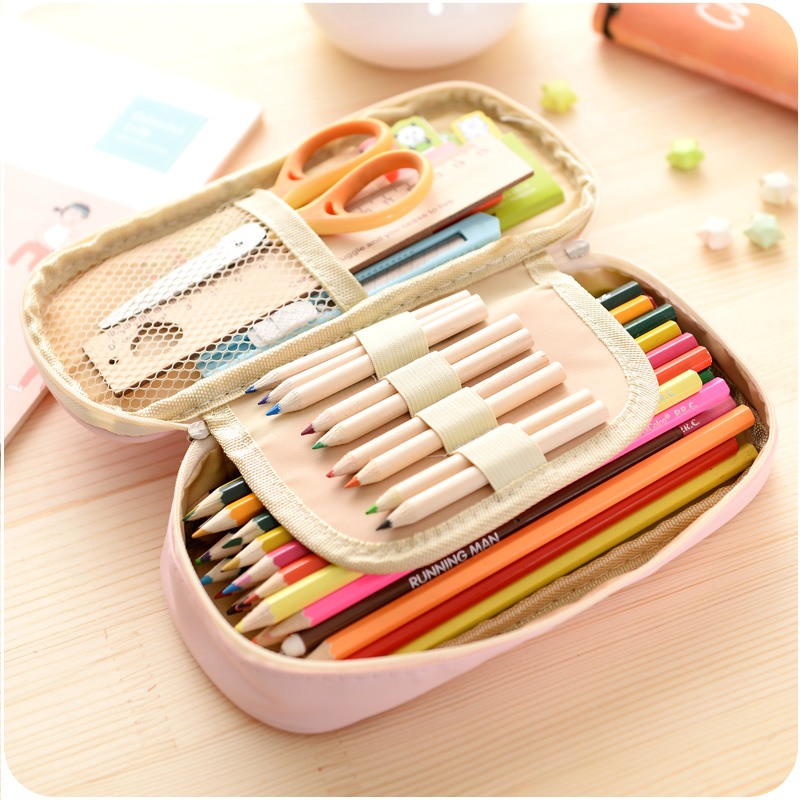 Cute Pencil Case Large Capacity Leather Double Layer Lovely Princess Printed Student Etui Pencilcase Pen Box School Stationery