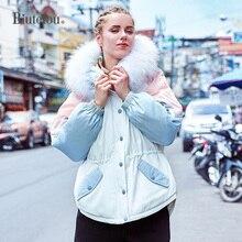 2019 Winter fur collar hooded down jackets fashion women warm slim white duck jacket