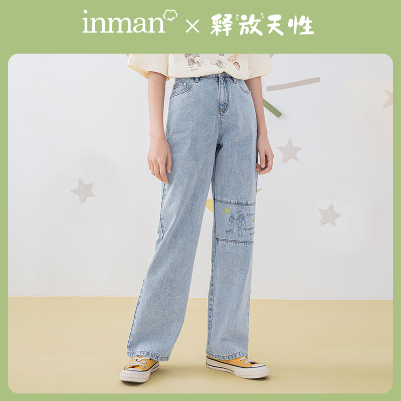 INMAN RELEASE OF NATURE Series 2020 Summer New Arrival Child Interest Handpainted Graffiti Printed Splicing Jeans