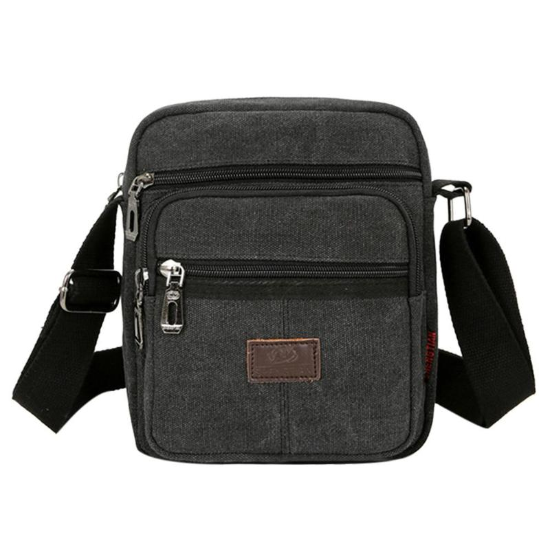 Canvas Crossbody Shoulder Bag Men Zipper Casual Travel Male Messenger Pack Bags