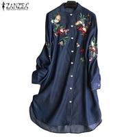2021 ZANZEA moda Denim camisa azul Vestidos de las mujeres bordado blusa Casual de manga larga Blusas Mujer Botón de talla grande túnica
