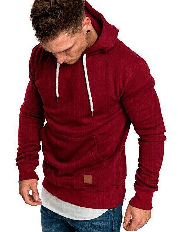 Hirigin Newest Sweat Shirt Men Slim Fit Athletic Muscle Hoodies Tops Men's Hooded Long Sleeve SweatShirt Hoody Sweat Shirt