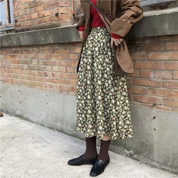New Boho Floral Print elastic Waist Skirts Women spring Summer 2020 Casual Fashion Skirt