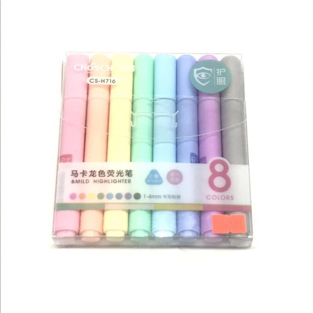 8pcs/set Creative Fluorescent Pen Highlighter Pencil Candy Color Drawing Marker