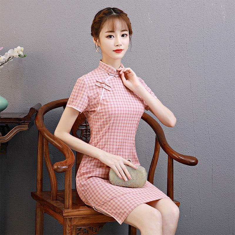 Spring And Summer 2020 New Cotton And Linen Cheongsam Cheongsam Dress Short-Sleeved Check Cheongsam Classic Modern Qipao платье